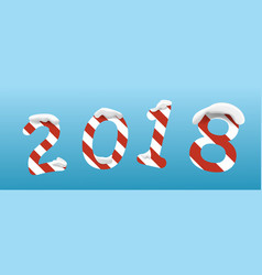 creative happy new year 2018 digitswhite and red vector image
