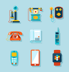Flat phone icons vector image