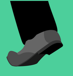 Leg shoes go isolated stepping foot template vector