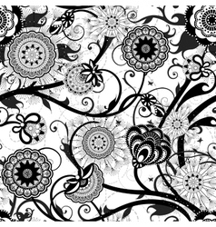 Monochrome floral seamless pattern vector image