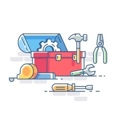Open box with tools vector image