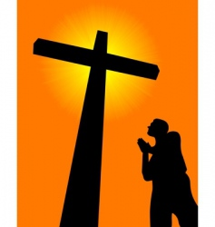 praying before the cross vector image vector image