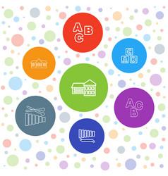 7 preschool icons vector image