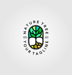 abstract tree line art logo full color icon design vector image