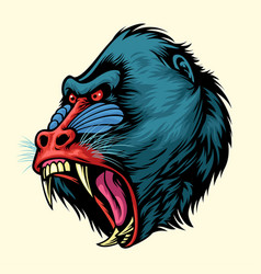 angry hand drawn of mandrill monkey head vector image