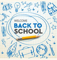 back to school banner doodle on checkered paper vector image