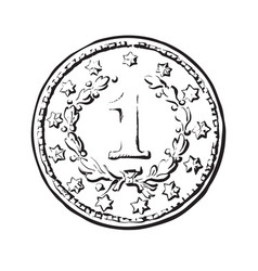 black and white sketch old coin vector image