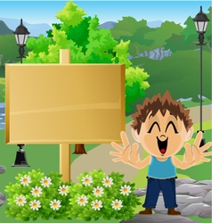 Boy in Park with Sign 7 vector