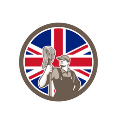 British industrial cleaner union jack flag icon vector