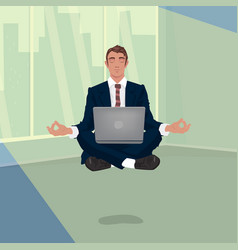 Businessman hovering in office in lotus pose vector