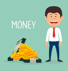 businessman with coins and bills dollars money vector image