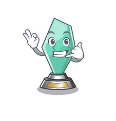 Call me acrylic trophy stored in cartoon drawer vector