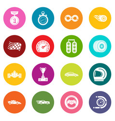 car race icons set colorful circles vector image