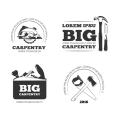 Carpentry workshop labels logos badges vector