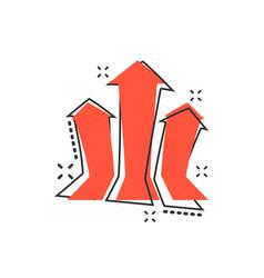 Cartoon arrow growing graph icon in comic style vector