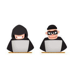Cartoon hackers using laptop for computer attack vector