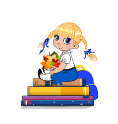 cartoon school girl in uniform sitting on books vector image