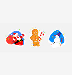 characters for new year santa claus snowman vector image