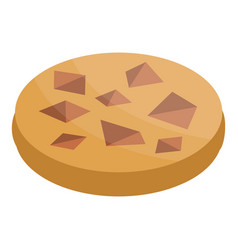 Chocolate piece cookie icon isometric style vector