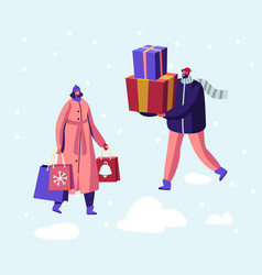 christmas and new year sale and shopping vector image
