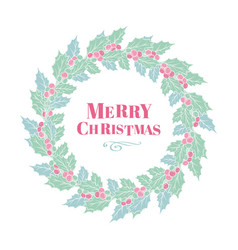 christmas holly wreath with lettering green vector image