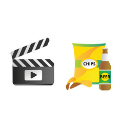 clapper board and chips food vector image