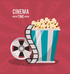 Colorful poster of cinema time with popcorn pack vector