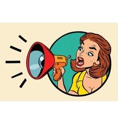 Comic woman agitator shouts into a megaphone vector image