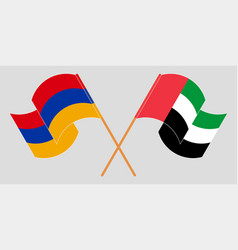 Crossed and waving flags armenia and united vector