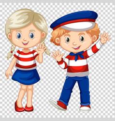 cute boy and girl waving vector image