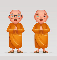 Cute buddhist monk traditional asian buddhism vector