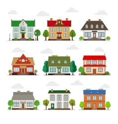 Cute houses in flat style vector image