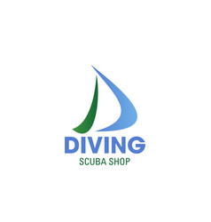 daving scuba shop letter d icon vector image