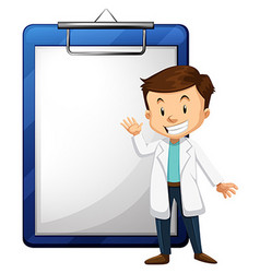 Doctor and blank paper template vector image