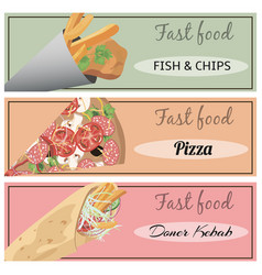 Doner kebab pizza fish and chips vector