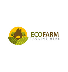 Eco farm logo template design vector