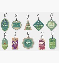 eco label natural organic cardboard labels vector image