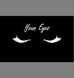 Eyelashes and eyebrows icon hand drawing flat vector
