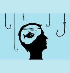Fish inside a human head looking at fishhooks vector