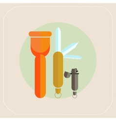 Flashlight knife lighter icon vector