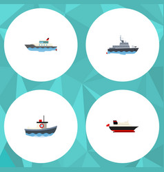 flat icon ship set of sailboat ship transport vector image