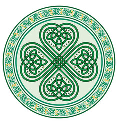 four-leaf clover irish symbol in the celtic style vector image