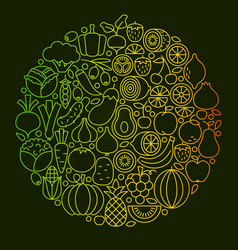 Fruit vegetable line icons design vector