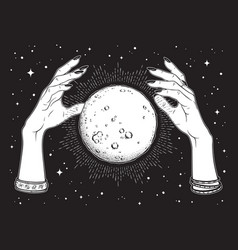 Full moon with rays of light in hands of gypsy vector