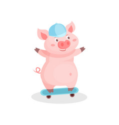 funny pig riding skateboard cute little piglet vector image
