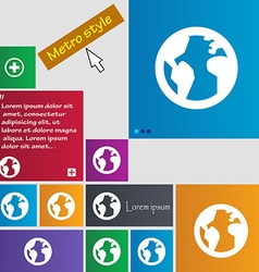 Globe World map geography icon sign Metro style vector