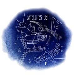 Graphic satellites set vector