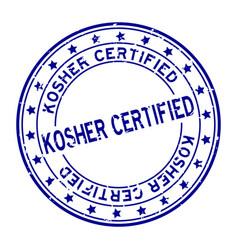 Grunge blue kosher certified word squre rubber vector