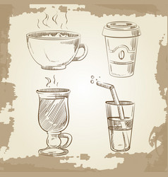 Hand drawn coffee tea and lemonade on vintage vector