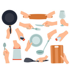 hand hold kitchenware cooking items in female vector image